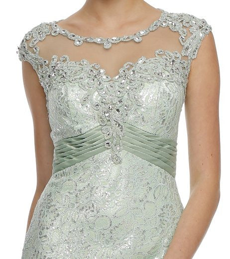 Cap Sleeved Jewel Neckline Long Champagne Mermaid Dress Zoom