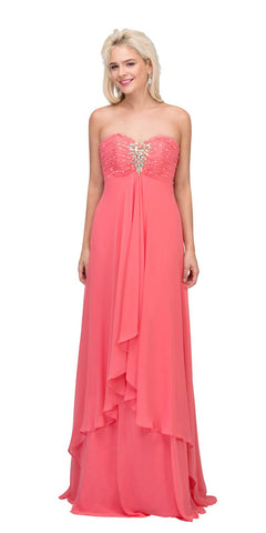 Strapless Floor Length Layered Coral Column Prom Gown