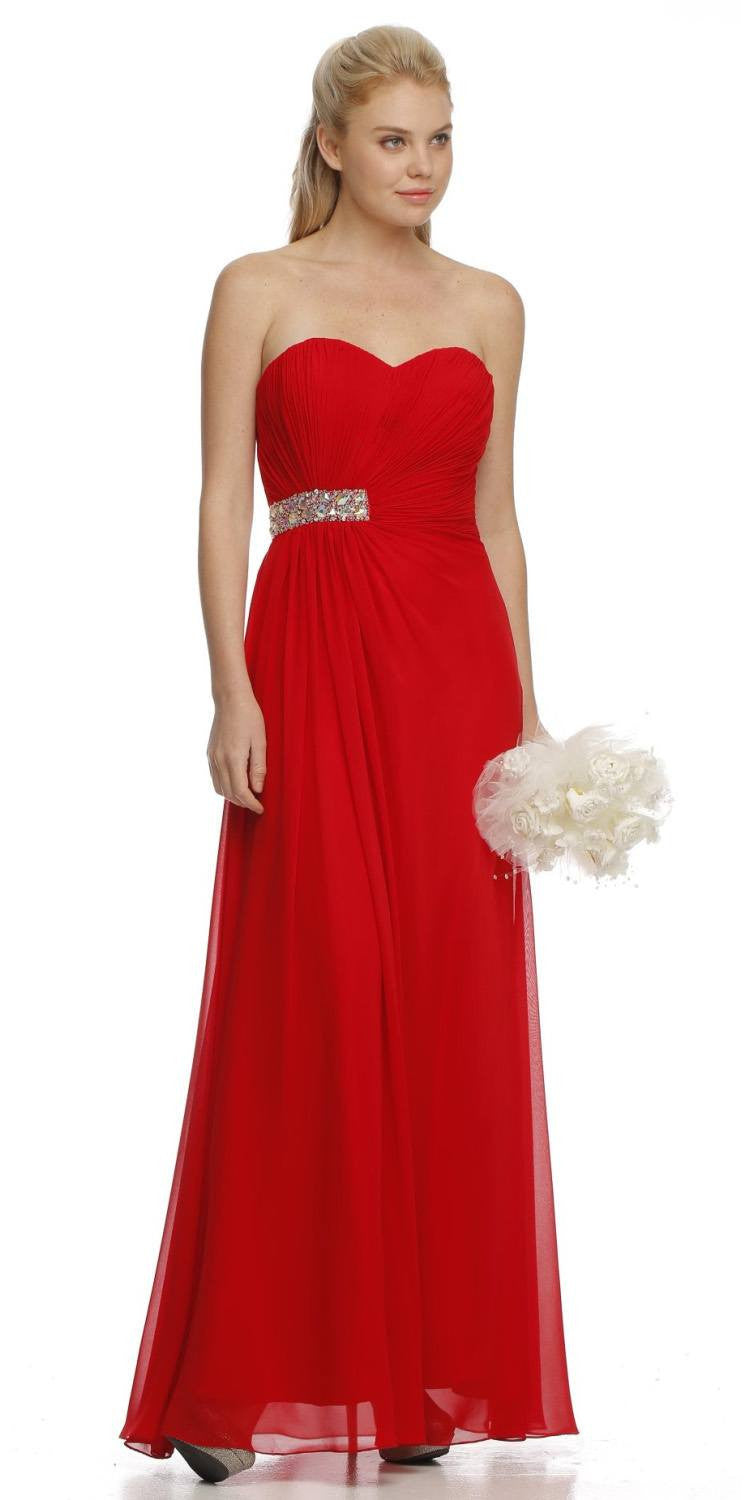 ON SPECIAL - LIMITED STOCK - Ruched Sweetheart Bodice Strapless Long Red Formal Gown