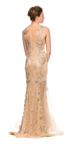 Sleeveless Illusion Neckline Long Studded Gold Trumpet Gown