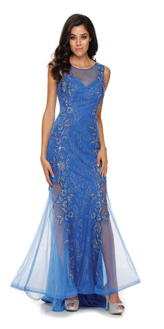 Sleeveless Illusion Neckline Long Studded Royal Blue Trumpet Gown