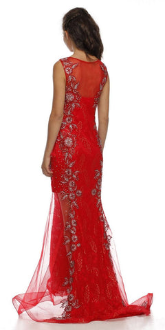 Sleeveless Illusion Neckline Long Studded Red Trumpet Gown
