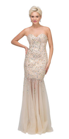 Sheer Skirt Strapless Long Nude Studded Mermaid Gown