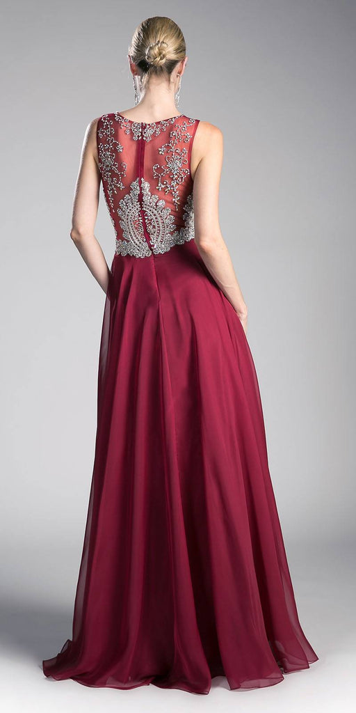 Cinderella Divine 56 Burgundy Bateau Illusion Neckline Embellished Bodice Sleeveless Prom Gown Back View