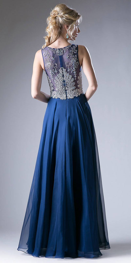 Cinderella Divine 56 Dark Royal Bateau Illusion Neckline Embellished Bodice Sleeveless Prom Gown