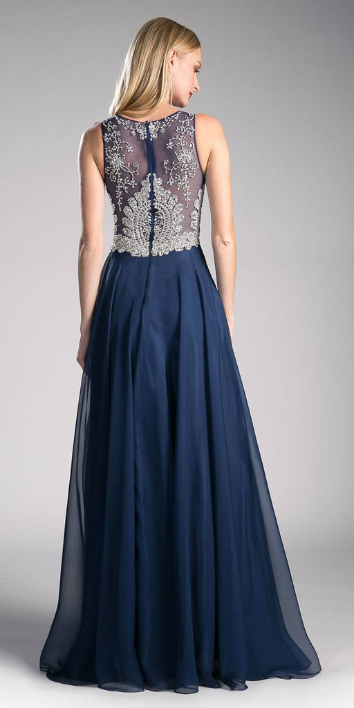 Cinderella Divine 56 Navy Blue Bateau Illusion Neckline Embellished Bodice Sleeveless Prom Gown Back View