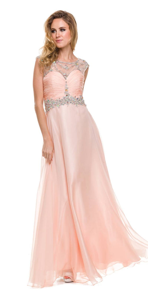Studded Meshed Yoke Ruched Bodice Peach Formal Dress