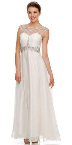 Studded Meshed Yoke Ruched Bodice Off White Formal Dress