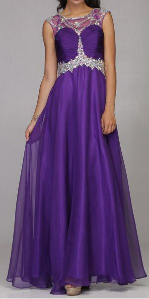 Studded Meshed Yoke Ruched Bodice Purple Formal Dress