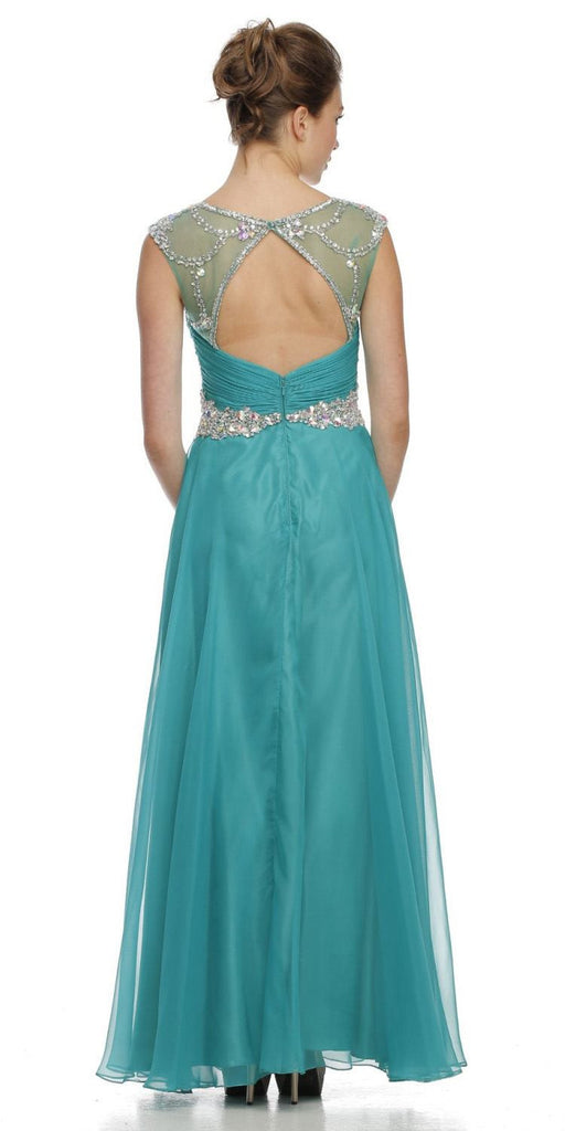 Studded Meshed Yoke Ruched Bodice Teal Formal Dress
