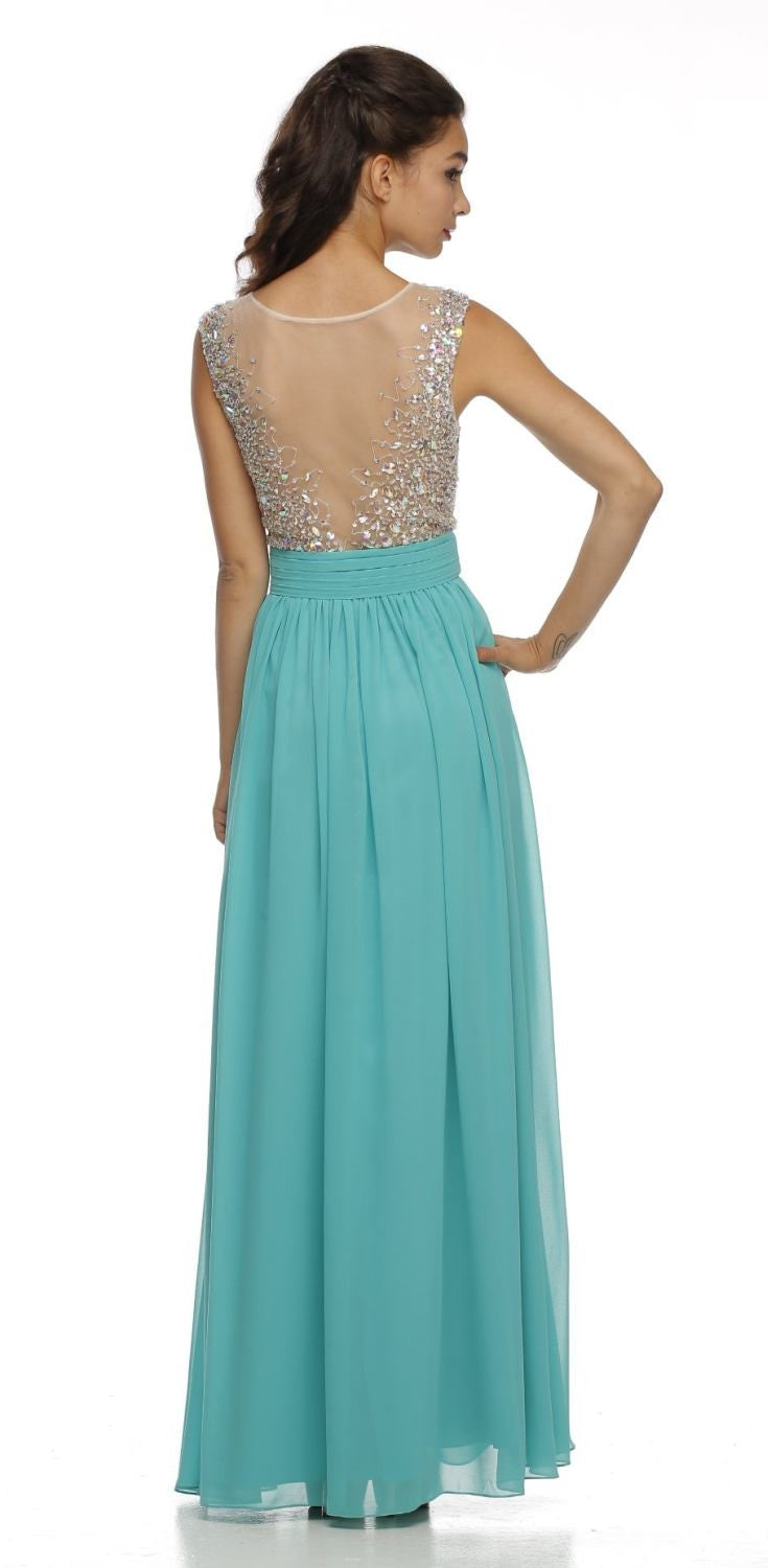 Long Illusion Neckline Sleeveless Chiffon Jade Prom Gown Back