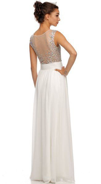 Long Illusion Neckline Sleeveless Chiffon Off White Prom Gown Back