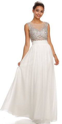 Long Illusion Neckline Sleeveless Chiffon Off White Prom Gown