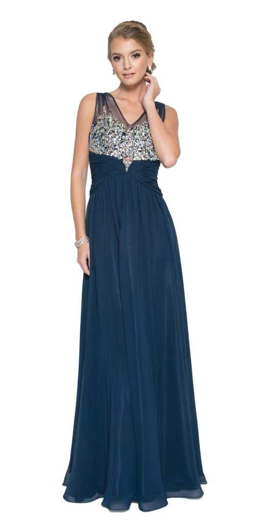 Juliet 565 Sheer V Neckline Long Flared Chiffon Navy Blue Formal Gown