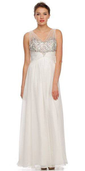 Juliet 565 Sheer V Neckline Long Flared Chiffon Off White Formal Gown