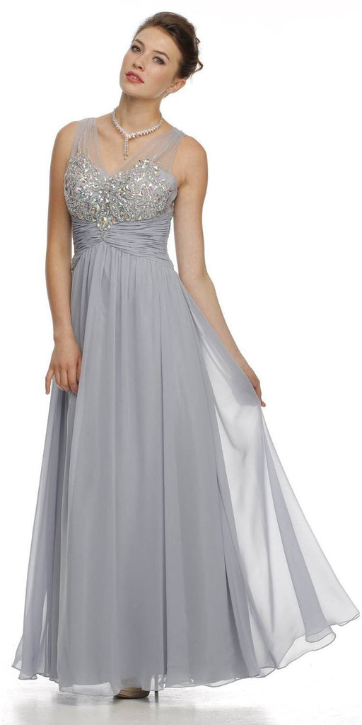 Juliet 565 Sheer V Neckline Long Flared Chiffon Silver Formal Gown