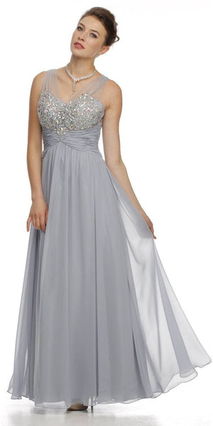 Sheer V Neckline Long Flared Chiffon Silver Formal Gown