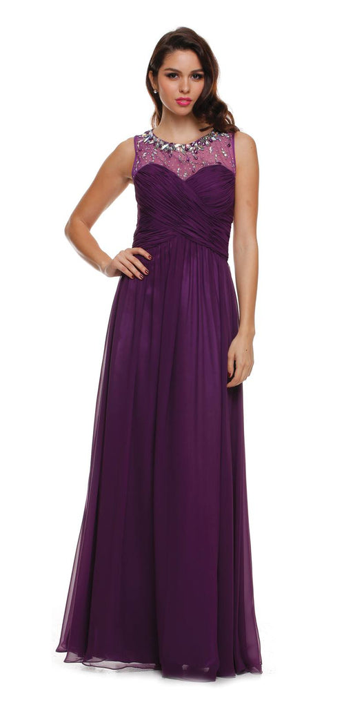 Juliet 566 Keyhole Back Jewel Neckline Long Purple Prom Dress