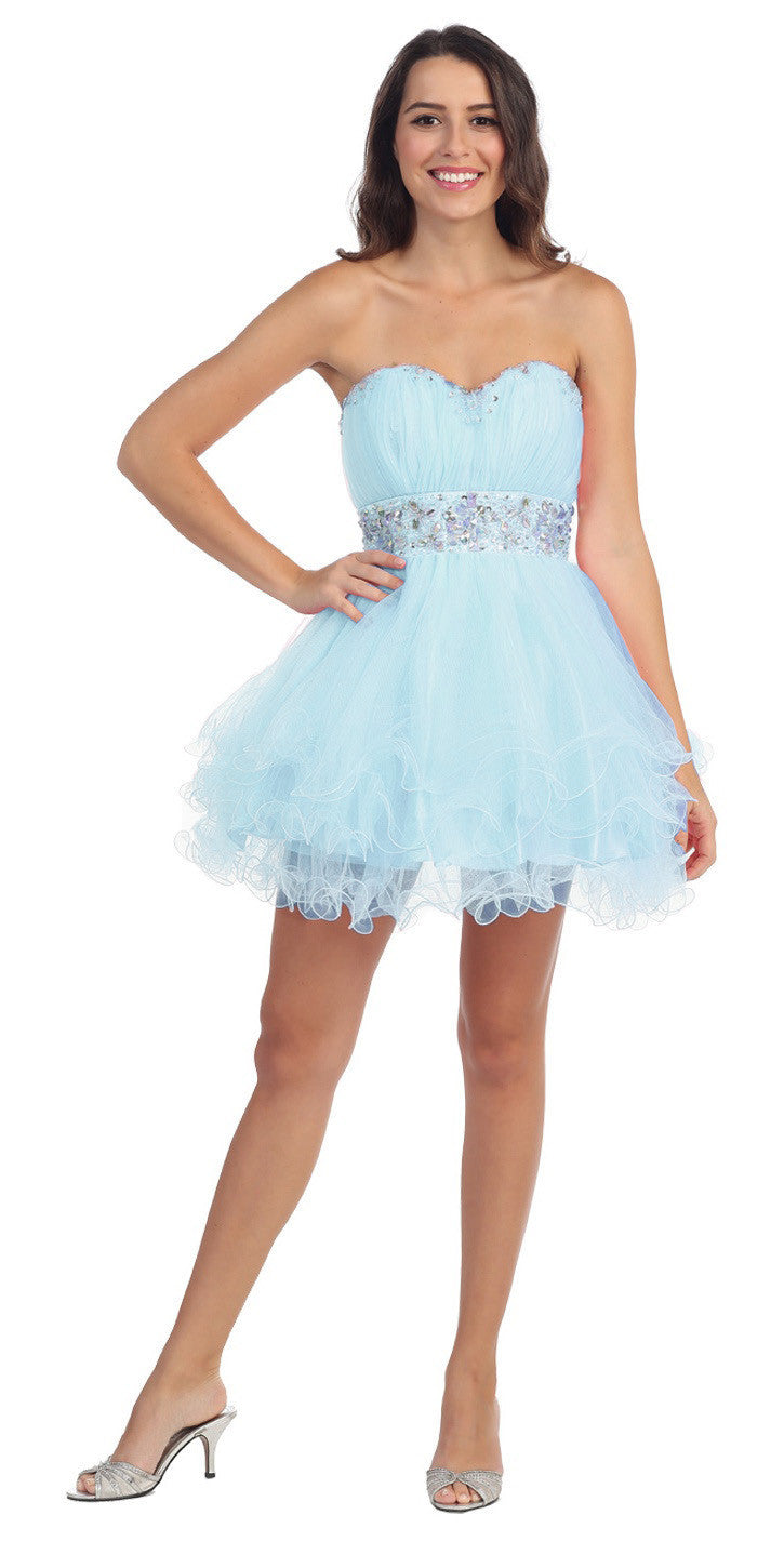 Tiered Ruffled Studded Strapless Short Light Blue Homecoming Dress