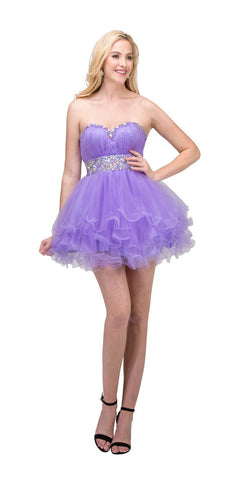 Tiered Ruffled Studded Strapless Short Lilac Homecoming Dress