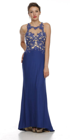 Sleeveless Illusion Neckline Royal Blue Column Formal Dress