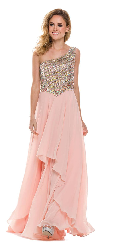 Juliet 570 One Shoulder Studded Bodice Peach Layered Long Party Dress