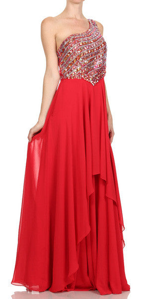 Juliet 570 One Shoulder Studded Bodice Red Layered Long Party Dress
