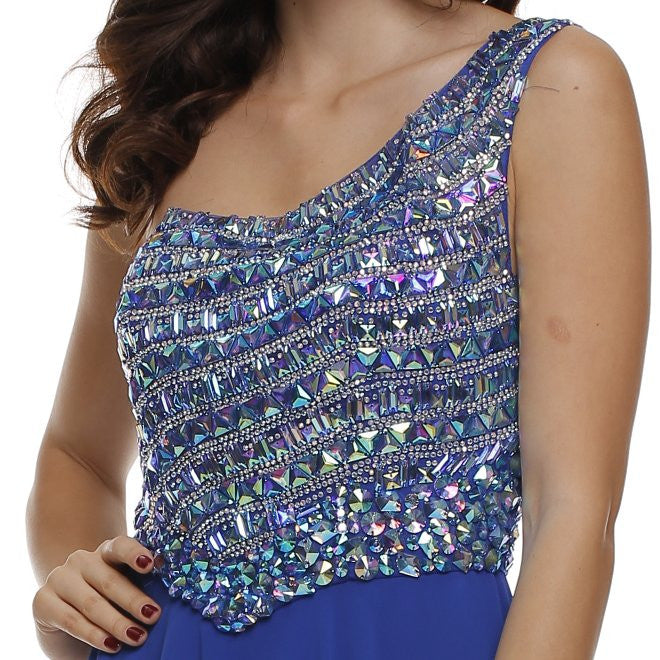 Juliet 570 One Shoulder Studded Bodice Royal Blue Layered Long Party Dress