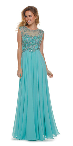 Embroidered Mesh Sweetheart Bodice A Line Jade Formal Gown
