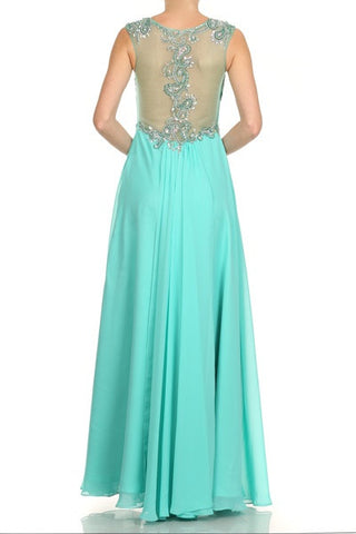Embroidered Mesh Sweetheart Bodice A Line Jade Back Formal Gown