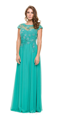 Jewel Neck Keyhole Back Jade A Line Cotillion Dress