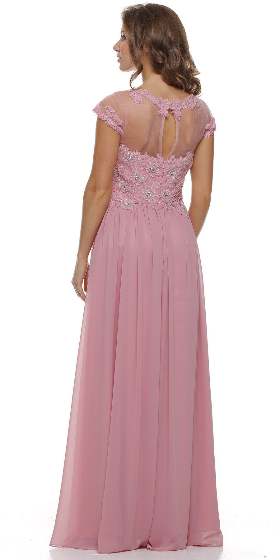 Jewel Neck Keyhole Back Dusty Rose A Line Cotillion Dress Back