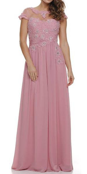 Jewel Neck Keyhole Back Dusty Rose A Line Cotillion Dress