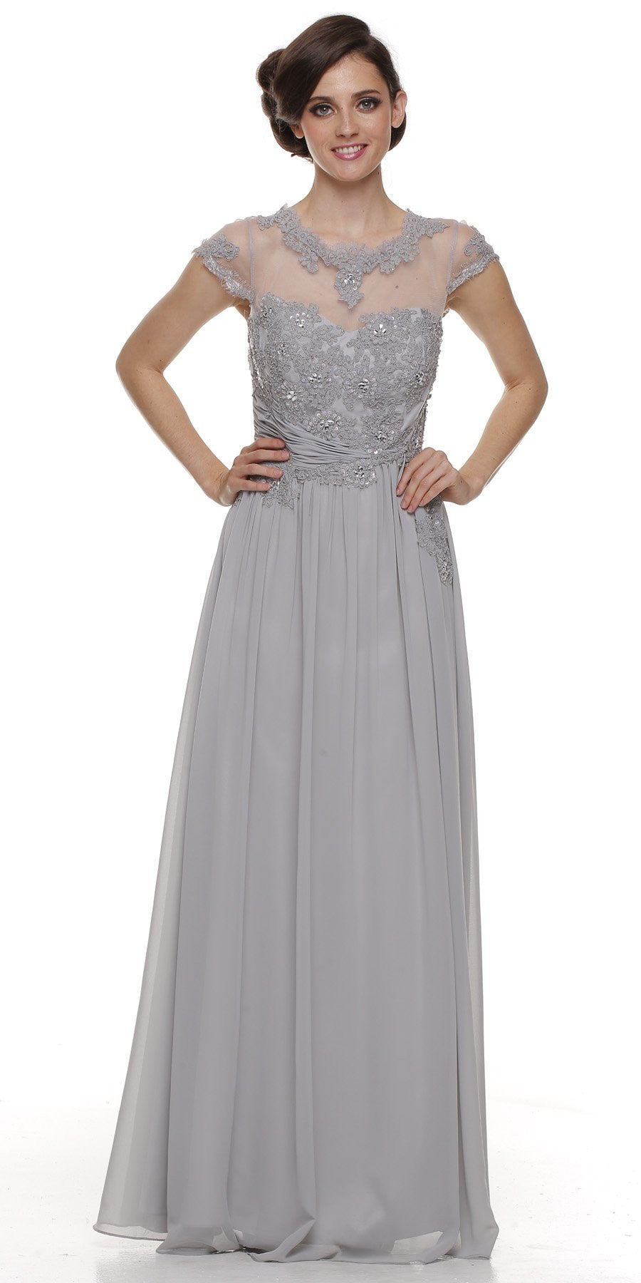 Jewel Neck Keyhole Back Silver A Line Cotillion Dress