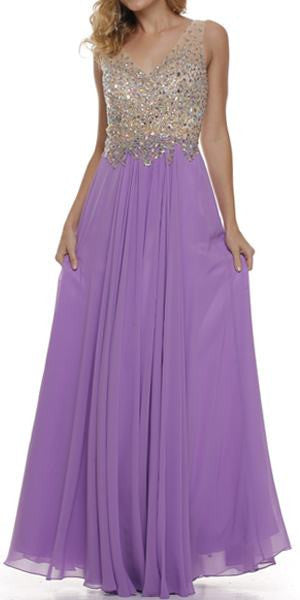 Sheer Straps Studded Bodice V Neck Chiffon Dark Lilac Dress