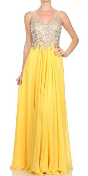 Sheer Straps Studded Bodice V Neck Chiffon Yellow Dress