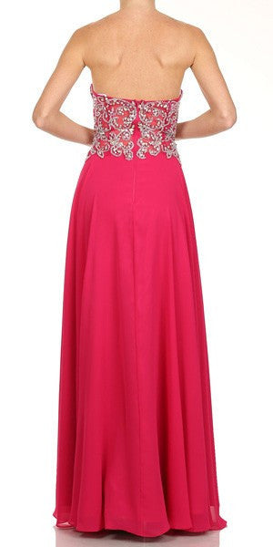 Embellished Sweetheart Neck Long Fuchsia Red Carpet Dress