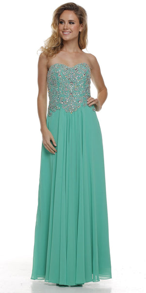 Embellished Sweetheart Neck Long Kelly Green Red Carpet Dress