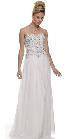 Embellished Sweetheart Neck Long Off White Red Carpet Dress