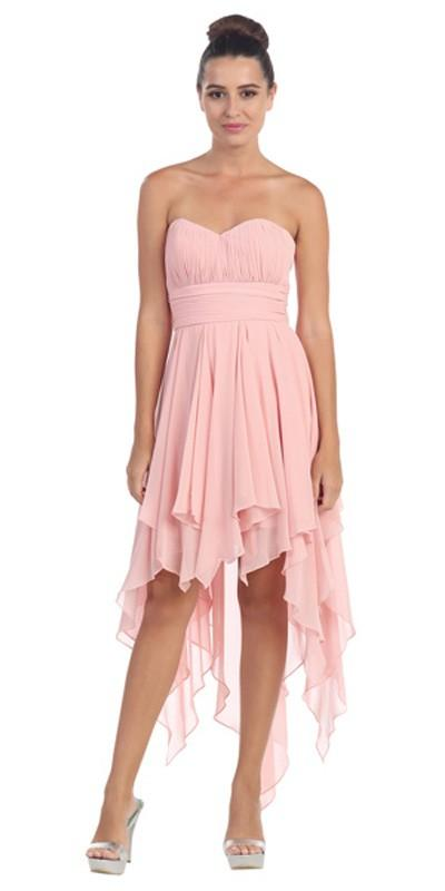 Starbox USA 575 Multi Layer Chiffon Bridesmaid Dress Blush High Low Strapless