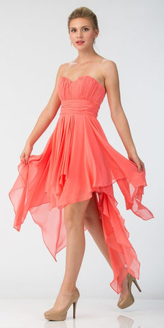 Starbox USA 575 Multi Layer Chiffon Bridesmaid Dress Coral High Low Strapless