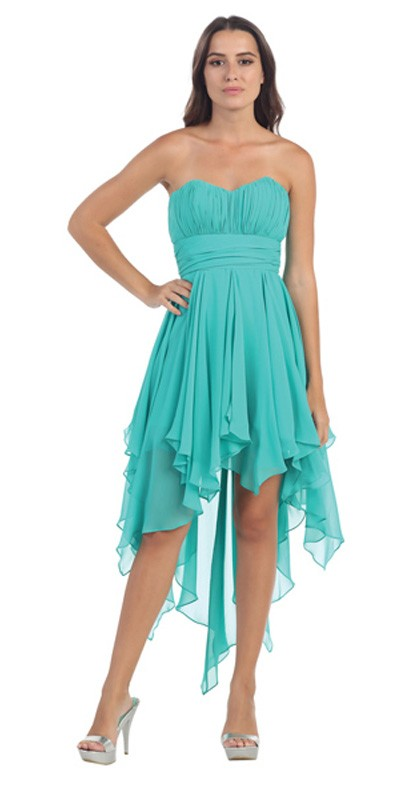 Starbox USA 575 Multi Layer Chiffon Bridesmaid Dress Jade High Low Strapless