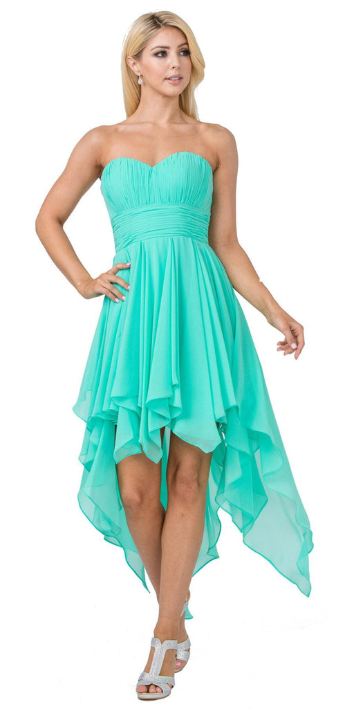 Multi Layer Chiffon Bridesmaid Dress Peach High Low Strapless