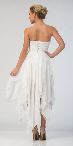 Starbox USA 575 Multi Layer Chiffon Bridesmaid Dress Off White High Low Strapless Back View