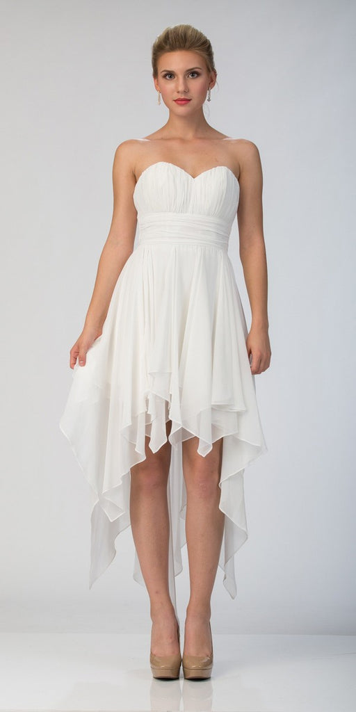 Starbox USA 575 Multi Layer Chiffon Bridesmaid Dress Off White High Low Strapless