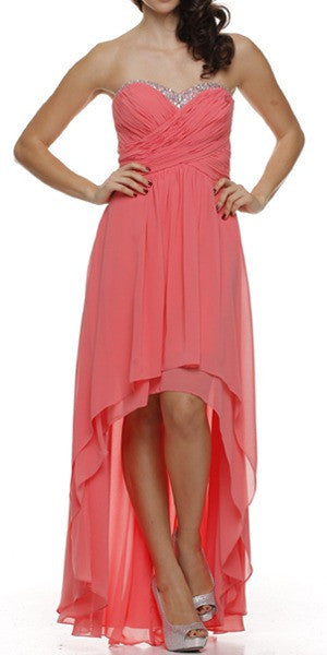 Ruched Corset Bodice Strapless High Low Coral Cocktail Dress