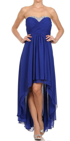 Ruched Corset Bodice Strapless High Low Royal Blue Cocktail Dress