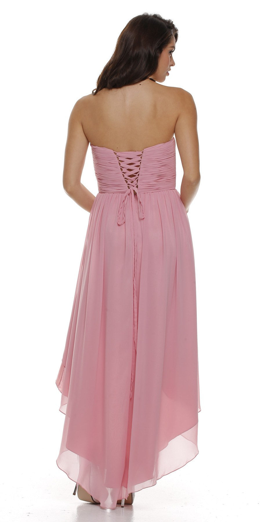High Low Strapless Ruched Bodice Blush Bridesmaid Dress Back