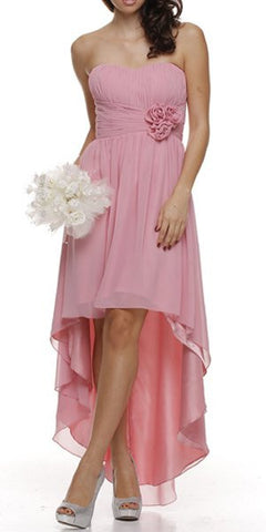 High Low Strapless Ruched Bodice Blush Bridesmaid Dress