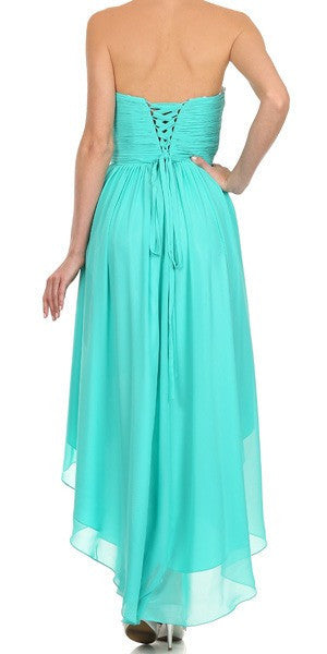 High Low Strapless Ruched Bodice Jade Back Bridesmaid Dress